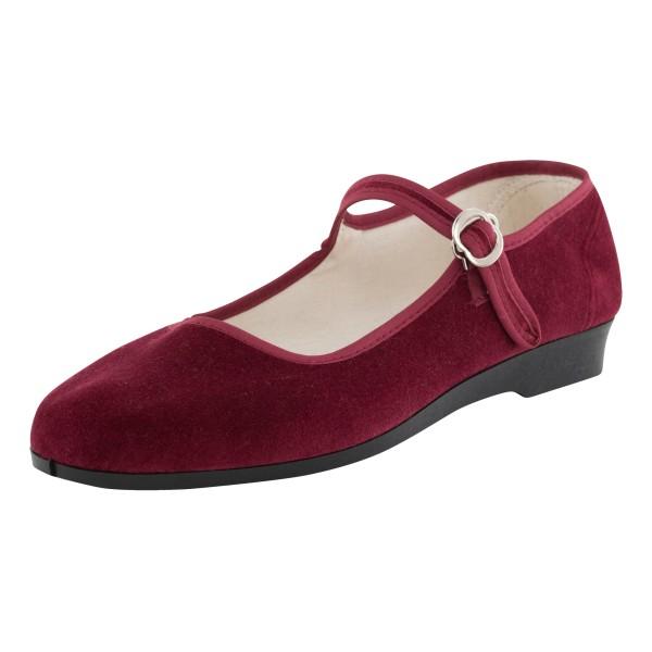 Original ROC China Samtschuhe bordeaux – rote Samtschuhe für Damen, Gr. 33-42
